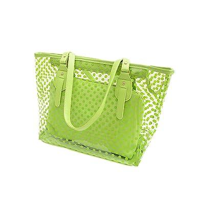 OULII Clear Zippered Tote Bag Dots Patterned Women Transparent Beach Handbag  with Inside Purse Bag ( 01e2b2995d
