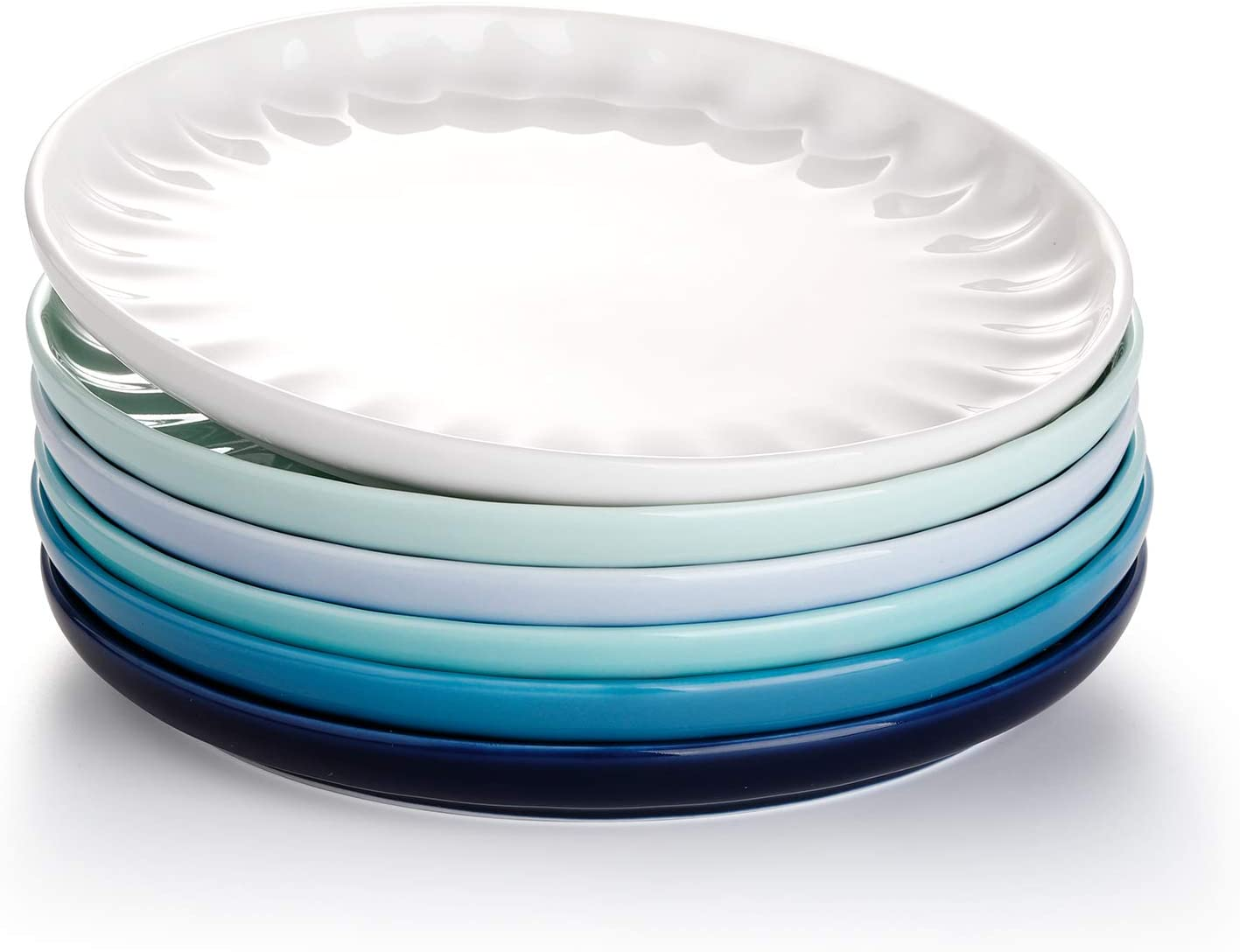 Sweese 161.003 Porcelain Inner Fluted Dessert Salad Plates - 7.4 Inch - Set of 6, Cool Assorted Colors