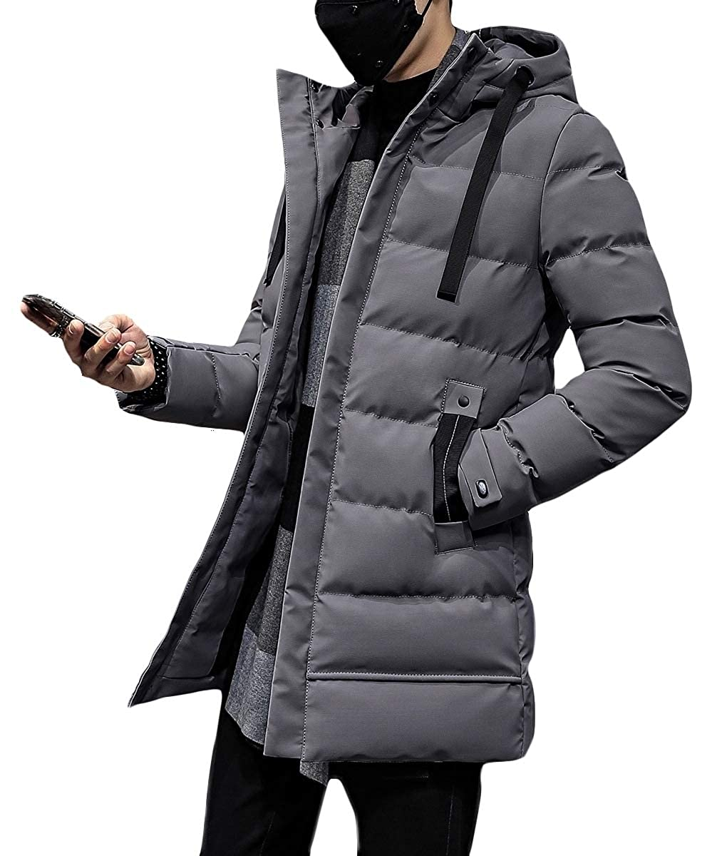 LinkShow Mens Hood Thickening Mid Length Solid-Colored Cotton Outdoor Coat