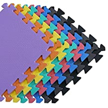 We Sell Mats - 1'x1' Blue 16 Squre Feet Foam Interlocking Anti-fatigue Kids Play Room Gym Soft Yoga Trade Show Basement Square Floor Tiles Borders Included - Several Colors to Choose From