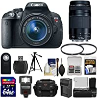 Canon EOS Rebel T5i Digital SLR Camera & EF-S 18-55mm IS STM & 75-300mm III Lens with 64GB Card + Case + Battery/Charger + Tripod + Flash + Grip + Kit At A Glance Review Image