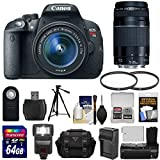 Canon EOS Rebel T5i Digital SLR Camera & EF-S 18-55mm IS STM & 75-300mm III Lens with 64GB Card + Case + Battery/Charger + Tripod + Flash + Grip + Kit
