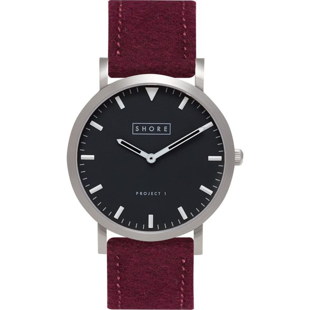 Shore Projects Whitstable Watch with Wool Watch Band | Burgundy by Shore Projects