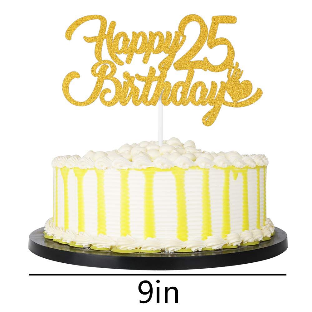 Terrific Amazon Com Palasasa Gold Single Sided Glitter Happy 25Th Birthday Birthday Cards Printable Nowaargucafe Filternl