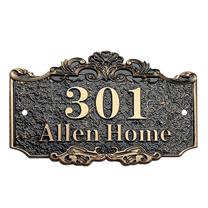 Aspire Personalized House Number Plaque, Street Address Signs, Custom House Numbers and Letters-Bronze-7.9