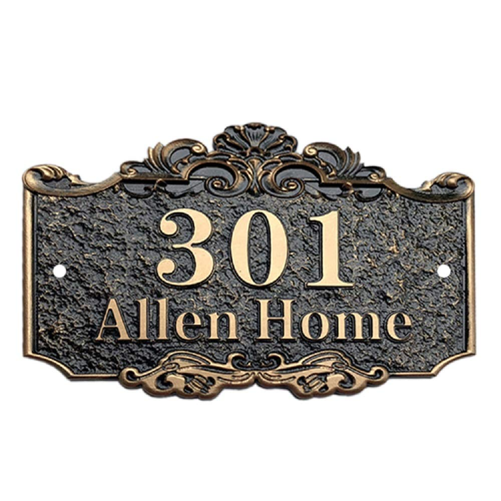 Aspire Personalized House Number Plaque, Street Address Signs, Custom House Numbers and Letters-Bronze-7.9'' L x 11.8'' W