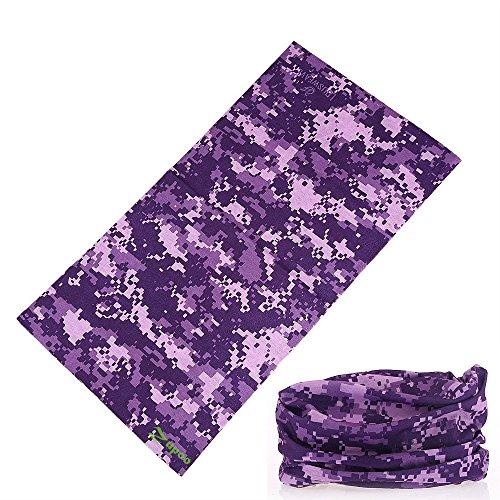 Headbands, Zupoo(TM) Camouflage Series 16-in-1 Multifunctional Headband Sports Magic Scarf,Collars Muffler Scarf Face Mask,Purple