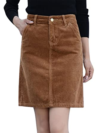 f745eecbe9 IDEALSANXUN Women's Slim Fit High Waist Short Corduroy Mini Skirt at Amazon  Women's Clothing store: