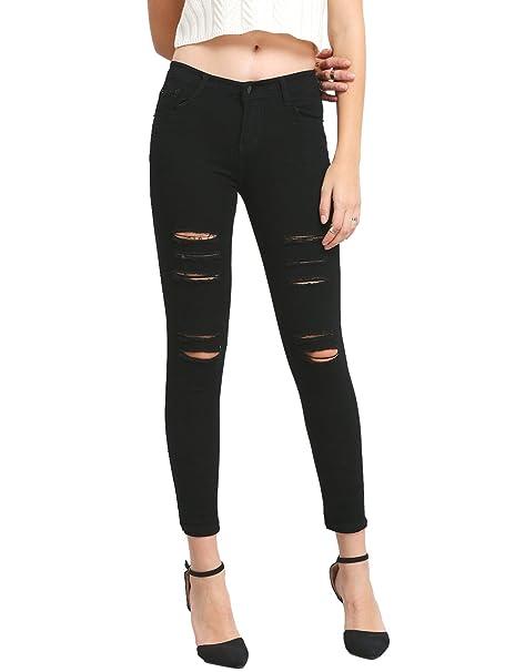 de54f8b534790e SweatyRocks Women's Casual Cotton Ripped Skinny Jeans Distressed Denim  Pants Black XS