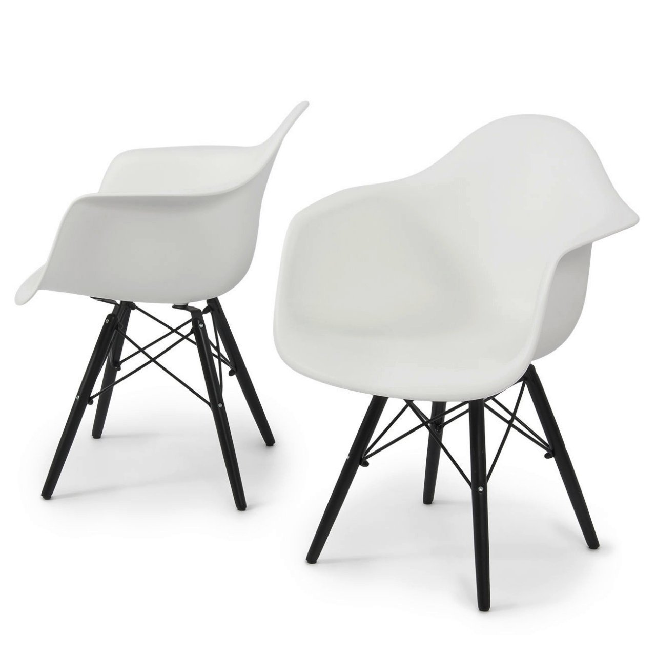 Modern Dining Chair Molded ABS Plastic Dowel Black Wooden Legs Posture Support Backrest Design Innovative Side Chair - Set of 2 White #1443