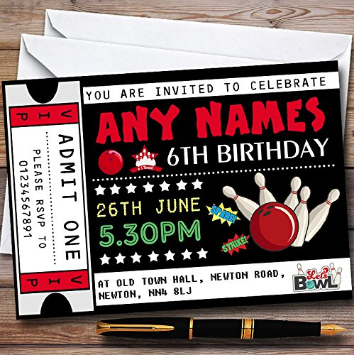 Bowling Ticket Personalized Childrens Birthday Party Invitations