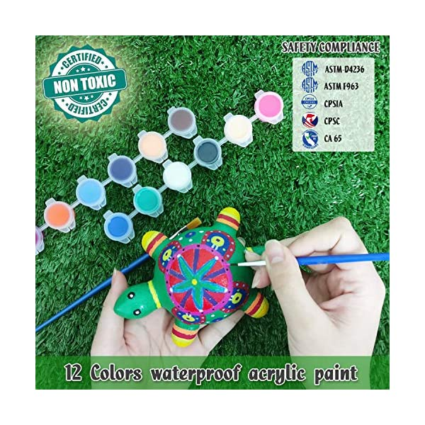 Bingo-Castle-Rocks-for-Painting-Arts-and-Crafts-for-Kids-Rock-Painting-Kit-Includes-1-Turtle-and-2-Frog-Rocks-12-Colors-Acrylic-Paint-Brushes-Palette-Kids-Craft-Kits-Ages-8-12