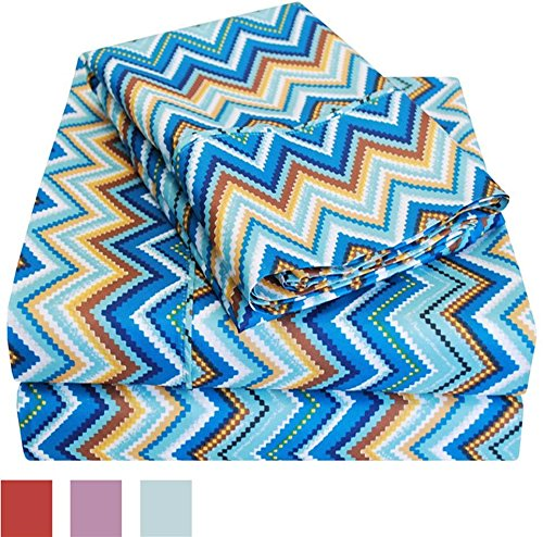 Impressions Wrinkle Resistant 1800 Series 4 Piece Zig-Zag Sheet Set - MICROFIBER MATERIAL: 100% microfiber fabric has a smooth, comfortable finish WRINKLE FREE: Resists wrinkles for easy care and an always-smooth look EYE-CATCHING PATTERN: Zigzag pattern provides a striking look - sheet-sets, bedroom-sheets-comforters, bedroom - 61bQLoMOdqL -