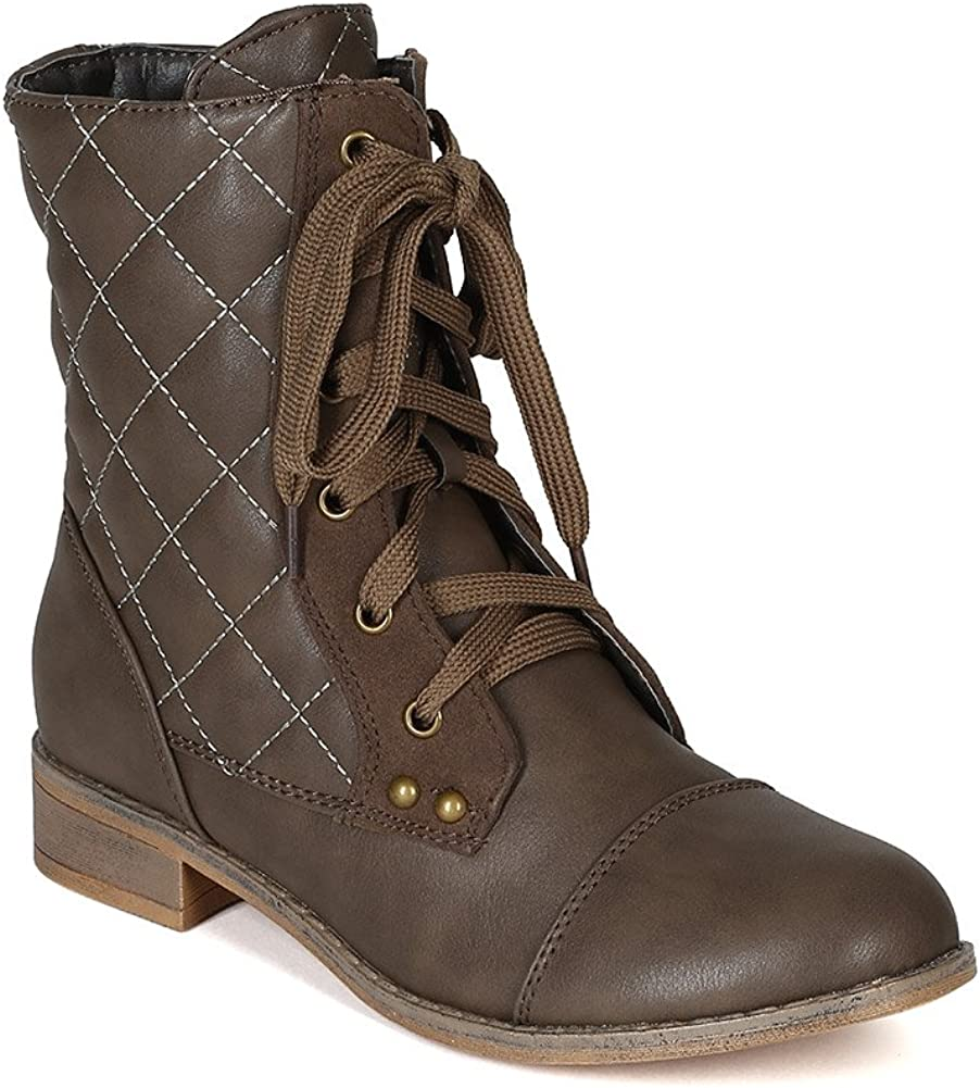 Nature Breeze Women Leatherette Quilted Lace Up Combat Boot BG10