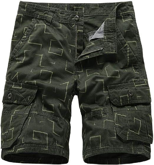 Candiyer メンズ マルチポケット ストレート カラー ブロック ミッドライズ プリント カーゴ ツイショートパンツ