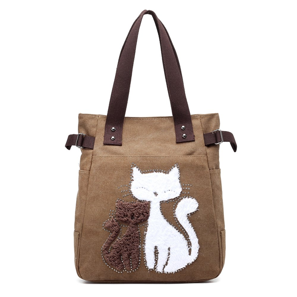 6cd4ec787 Hiigoo Casual Handbag Canvas Shoulder Bags Cat Tote Environmental Shopping Bag  Trendy Totes (Brown): Handbags: Amazon.com