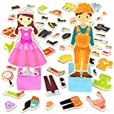 Imagination Generation Zoey & Joey Magnetic Dress-up Playset – Mix-and-Match 65 Pieces including Clothes, Hats, Accessories - Wooden Wonders Toy