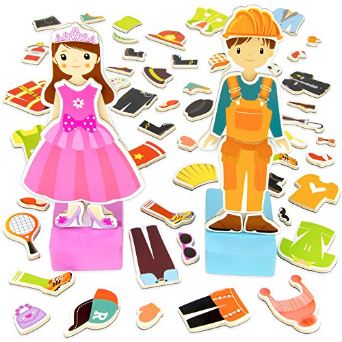 Wooden Wonders Zoey & Joey Magnetic Dress-up Playset (65pcs.) by Imagination Generation
