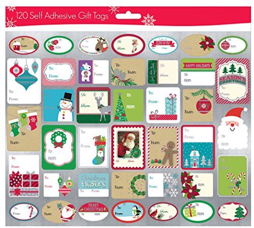 Self Stick Christmas Gift Tags - Pack of 120 Self Adhesive Christmas Gift Tags Labels 3 Sheets with 40 Different Designs Xmas Gift Labels