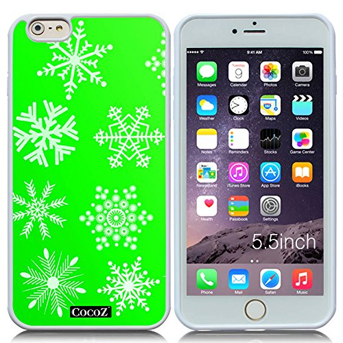 New Apple iPhone 6 s Plus 5.5-inch CocoZ® Case Beautiful Christmas Snow TUP Material Case (Green&White TPU Snowflake (Open Enclosure Telephone)