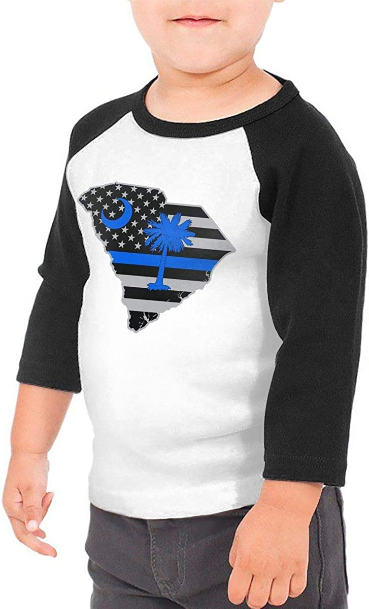South Carolina Police Blue Line Flag Kids Jersey Raglan T-Shirt Children 3//4 Sleeve Baseball Shirt Top