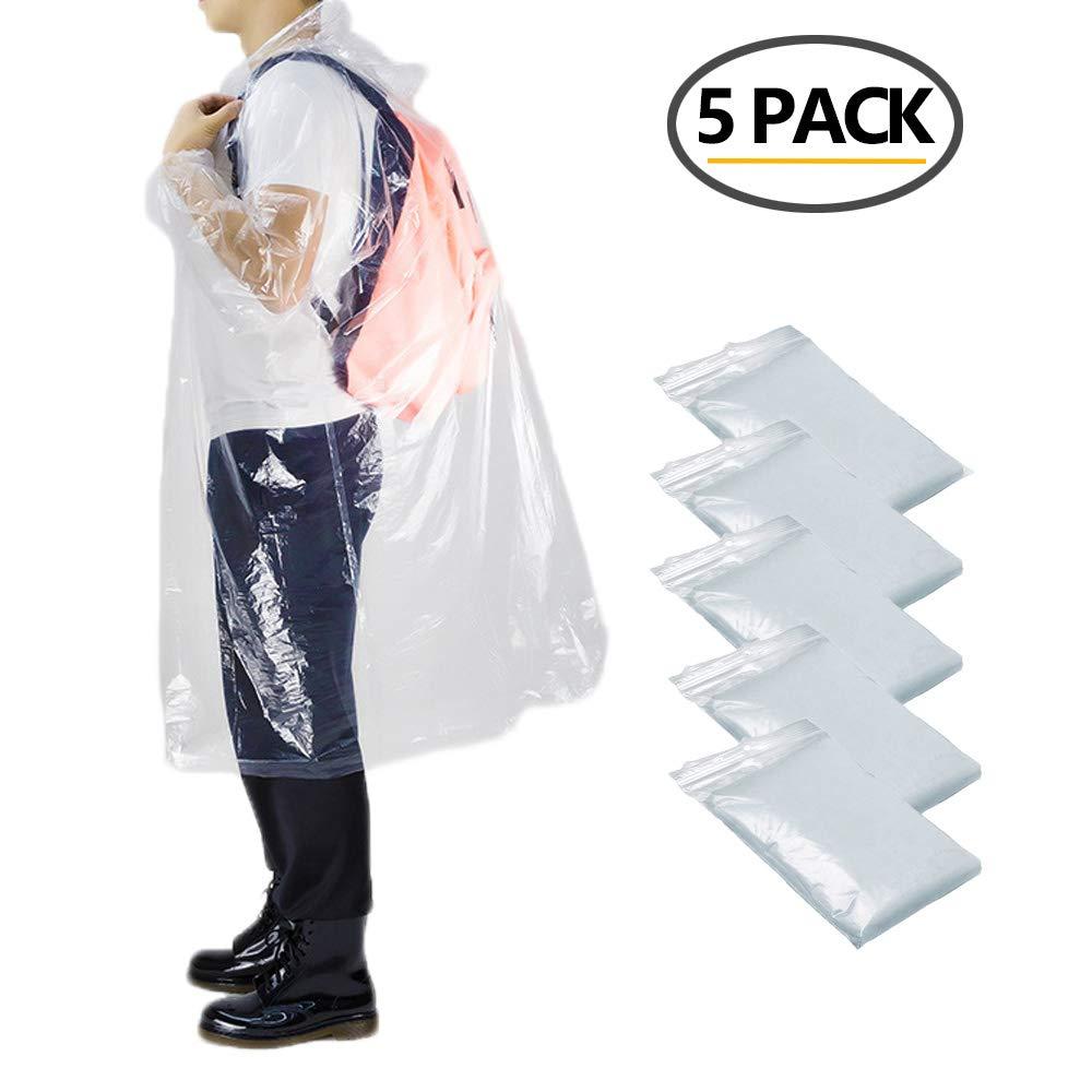 Pack de 5 ponchos desechables para emergencias o momentos puntuales.