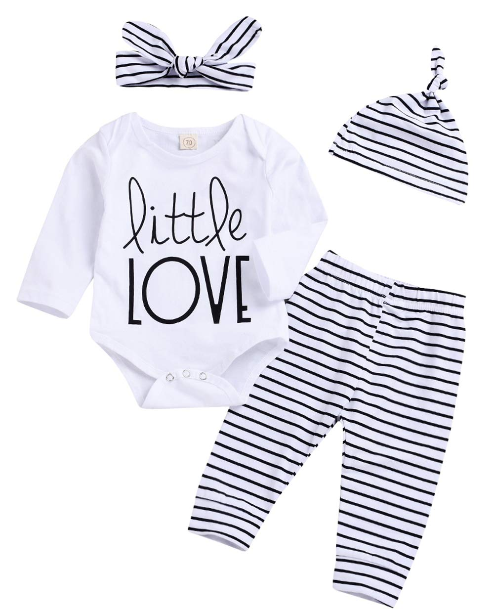 Younger Tree Newborn Infant Baby Boy Girl Love Long Sleeve Romper Bodysuit+Striped Pants+Hat+Headband Cute Outfits 4Pcs/Set (White, 0-3 Months)