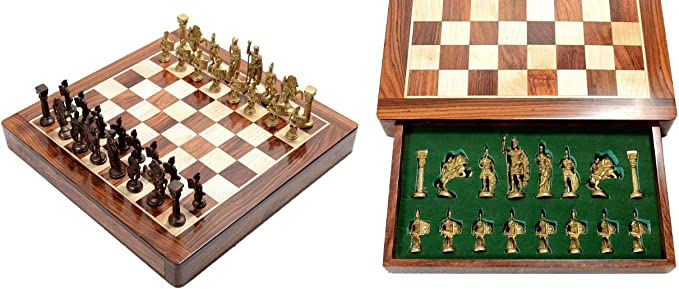 Hand Crafted Roman Brass Chess Set with Wooden Board,Brass Chess Figures Fitted Inside The Board