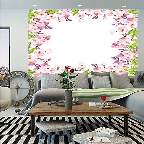 Shabby Chic Decor Huge Photo Wall Mural,Floral Frame with Pink Meadow Flowers Spring Foliage Blooms Nature Ornate Decorative,Self-Adhesive Large Wallpaper for Home Decor 100x144 inches,Multicolor