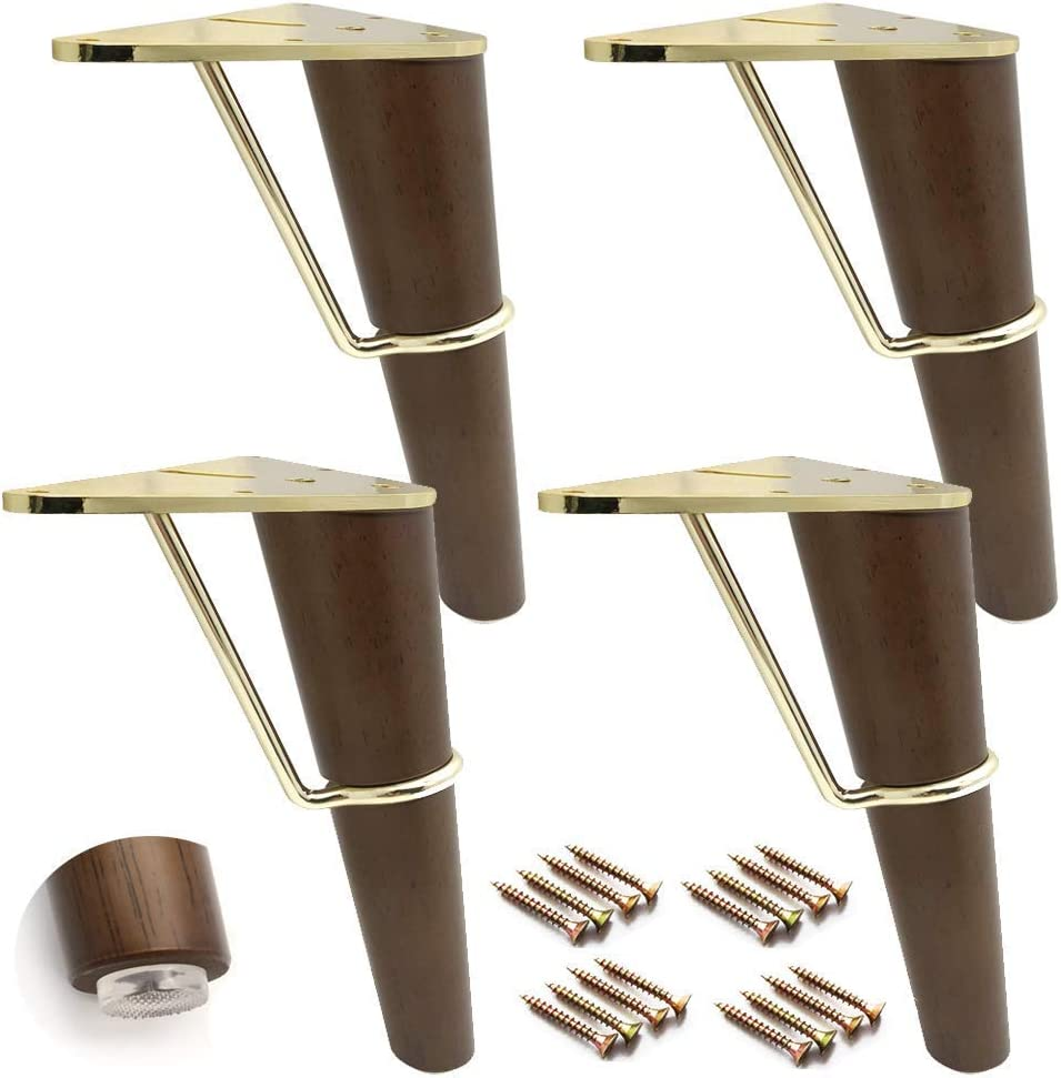 ZHUAN Set of 4 Solid Wood Furniture Legs, Spare Sofa feet, Wooden Kitchen Furniture feet, Coffee Table Legs, Triangular Metal Stand, with mounting Accessories (Walnut 18 cm / 7 inches)