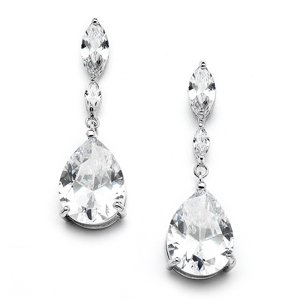 a1772ae4e845f Mariell Cubic Zirconia Bridal, Bridesmaid or Prom Teardrop Earrings with  Marquis and Pear-Shaped Dangles