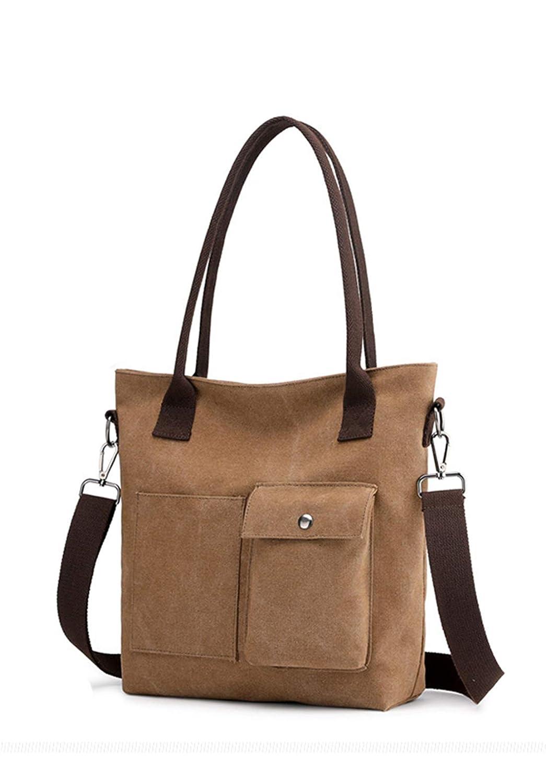 1519brown Women's Large Capacity Canvas Bag Tote Bag Handbag Convenient Hobo Bag (15191520)