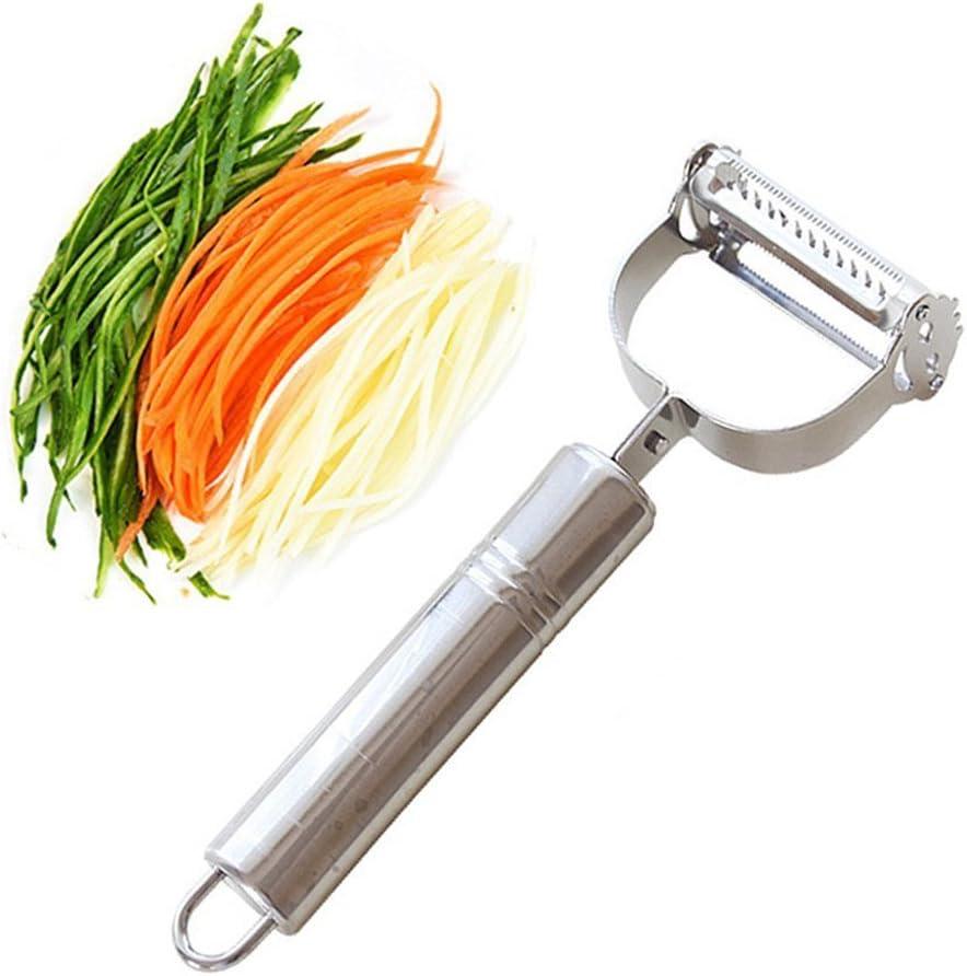 ZZM Rebanador de peladoras Julienne y Vegetales Dual Ultra Sharp de Acero Inoxidable - Herramienta increíble para Hacer deliciosas ensaladas y Fideos de Verduras