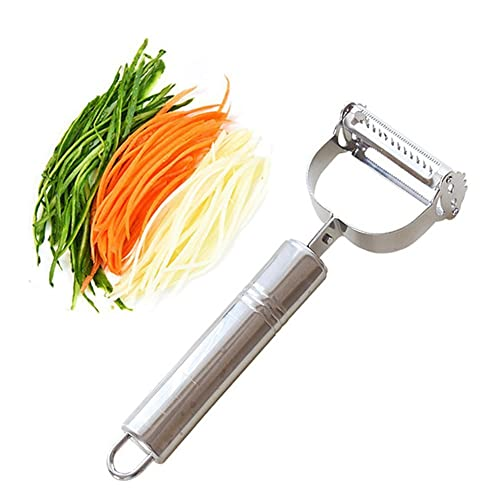 ZZM Premium Ultra Sharp Stainless Steel Dual Julienne & Vegetable Peeler Slicer - Amazing Tool for Making Delicious Salads and Veggie Noodles