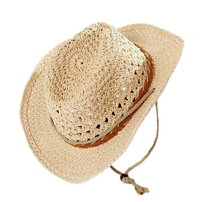 Sombrero De Vaquero Unisex Protección Solar con Chinstrap Sombrero De Sol  Sombrero De Especial Estilo Verano 7a70f271078