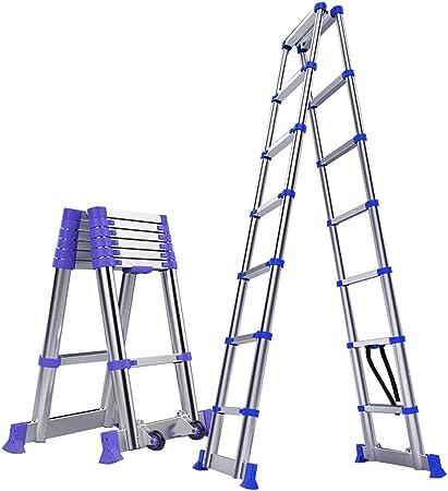 Escalera Telescópica, Escalera de extensión telescópica Tipo A - Escalera telescópica Plegable de Aluminio con Barra de Soporte, sugiere 330 Libras (Size : 9.68ft/2.95m): Amazon.es: Hogar