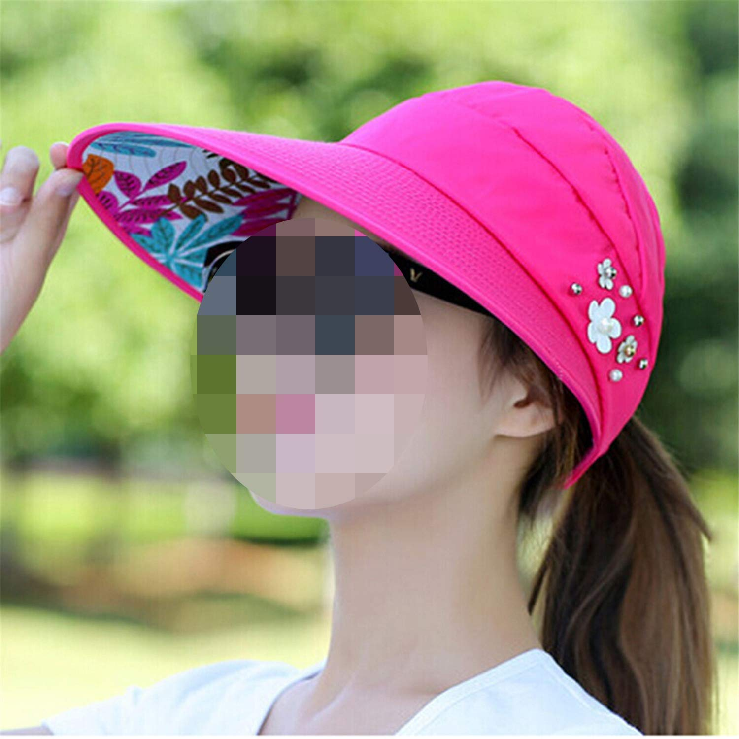 Sun Hats Visors Hat UV Protection Cap Black Womens Summer Caps Ponytail Wide Brim Hat,4 Watermelon Red