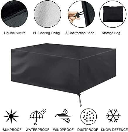 SOYYD Fundas Muebles Jardin Negro Rectangular A Prueba De Polvo Y Transpirable Fundas para Muebles De Jardin Bolsa De Almacenamiento De Cinturón De Protección UV,350x260x90cm: Amazon.es: Hogar