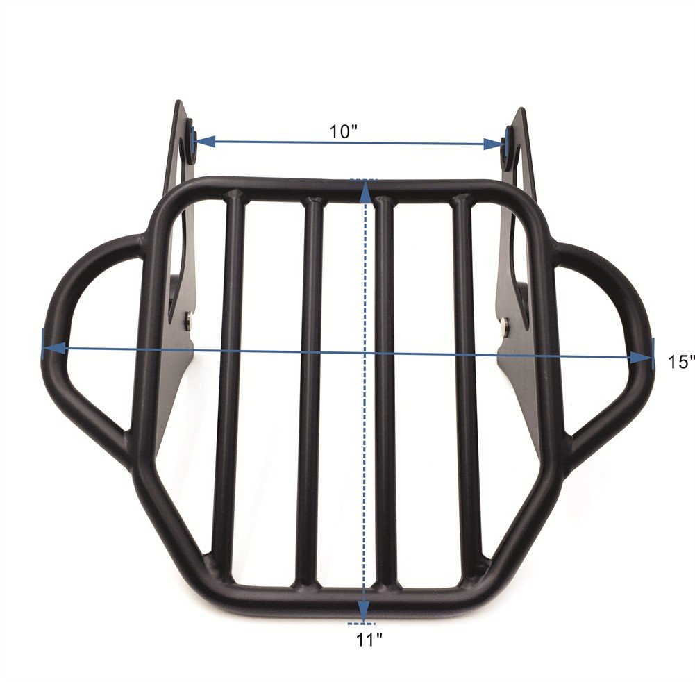 HTT- Motorcycle Flat Black King Detachable Luggage Rack For 2009-2017 Harley Touring Road King / Street Glide / Road Glide by HTT