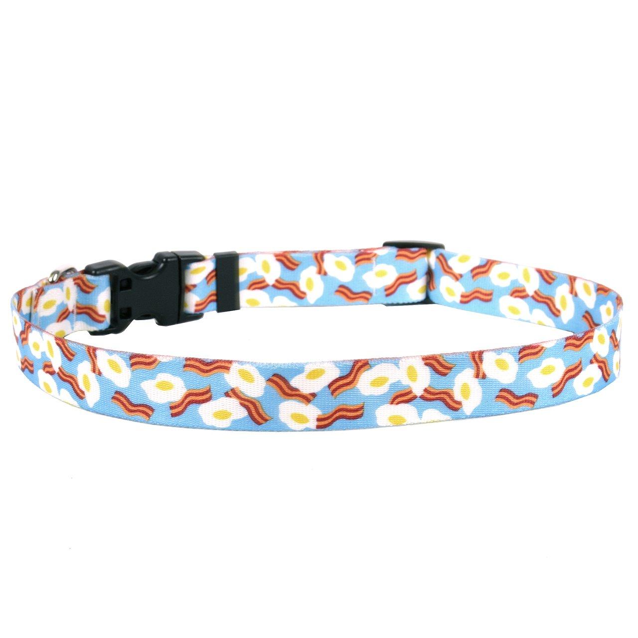 Yellow Dog Design Standard Easy-Snap Pet Collar, Bacon & Eggs, Small 10'' - 14''