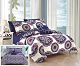 quilt clearance - Chic Home Madrid 4 Piece Reversible Quilt Set Super Soft Microfiber Large Printed Medallion Design with Geometric Patterned Backing Bedding Set with Decorative Pillow and Sham, King Navy