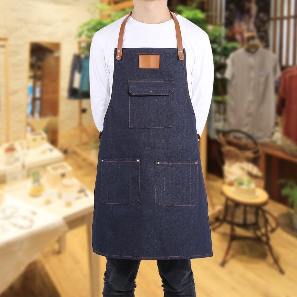 Denim blu + Logo Bianco Tablier de Travail Tablier de Cuisine Professionnelle Courroie en Cuir /épais Durable Barman BBQ Chef Chef de Travail Uniforme Ajustable Tablier de Travail en Denim