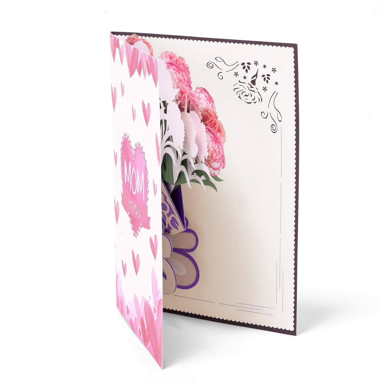 Cartes de Voeux Pop up Paper Spiritz Carte Anniversaire F/ête des m/ères Carte de Remerciement carte Mariage F/élicitation Cartes dinvitation Laser de Carte Enveloppe