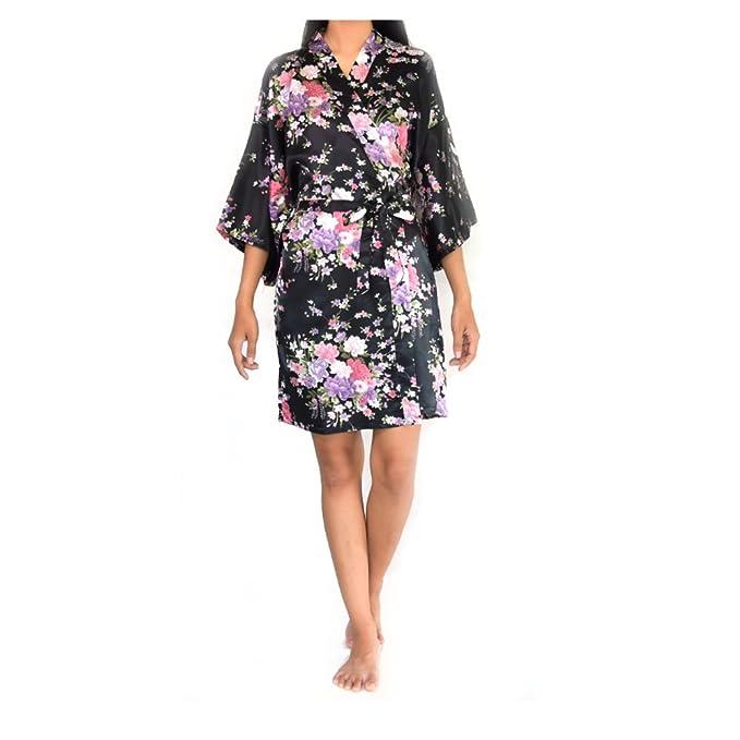 Tana Floral Cherry Blossom Silky Satin Kimono Robe Dressing Gown For ...
