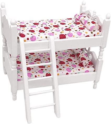 Miniature Children Bedroom Bunk Bed Dollhouse 1:12 Furniture Accessories B