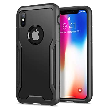 HOOMIL Funda para iPhone X, Funda para iPhone XS, Shock-Absorción Carcasa Protectora para Apple iPhone X/XS Smartphone (5.8 Pulgadas) - Negro