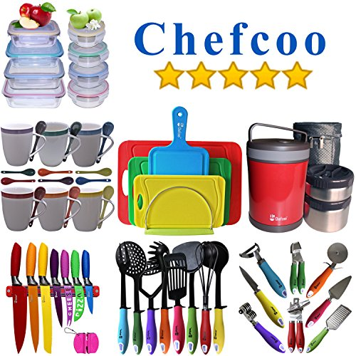 Kitchen Knives Set Plus Magnetic Strip And Sharpener By Chefcoo