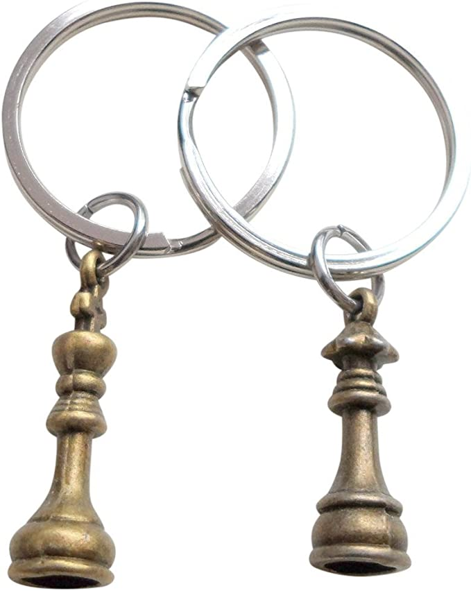 Anniversary Gift Mother/'s Day Gift Keychain His Queen Chess Piece Keychain Gift For Her
