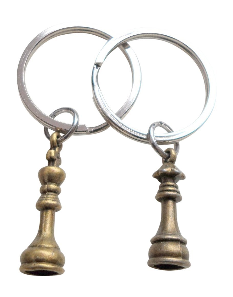 Bronze Chess Piece Charm Keychains, King and Queen Set - Couples Keychain Set JewelryEveryday 32914000286