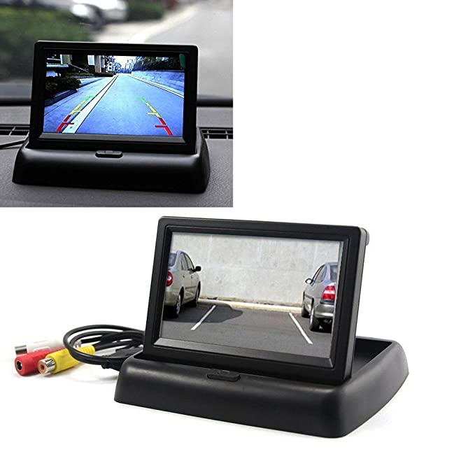 "4,3/"" Klappbar LCD Auto KFZ Videomonitor mit Rückfahrkamera LKW Rückfahrsystem DE"